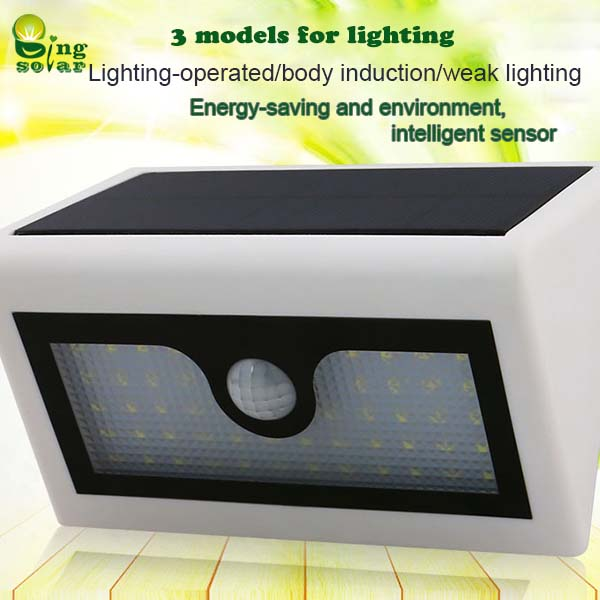 1.8W Wireless Solar Powered Motion Sensor Light with Lithium Battery Built-in