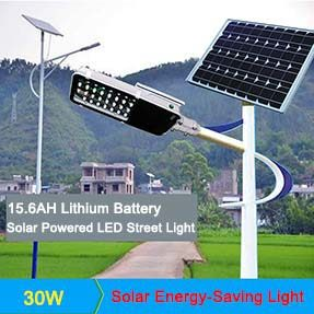30W Outdoor IP65 Solar Powered Led Street Light with Lithium Battery Built-in