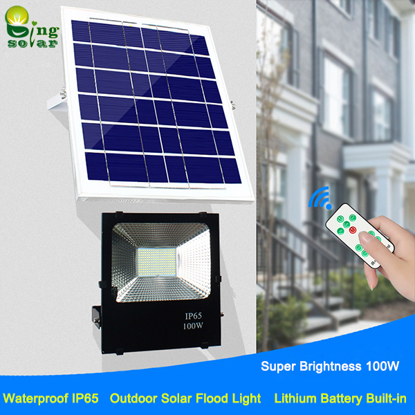 Outdoor ip65 remote control solar flood light for courtyard landscaping mozeypictures Images