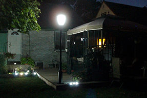 What kind of solar powered LED garden light should be installed for backyard?