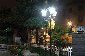 What are present characteristics for outdoor solar powered LED light?