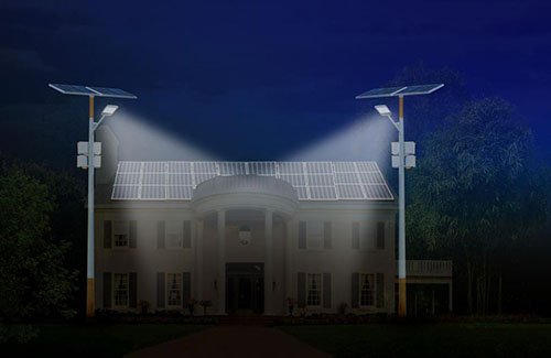 solar powered street light with traditional
